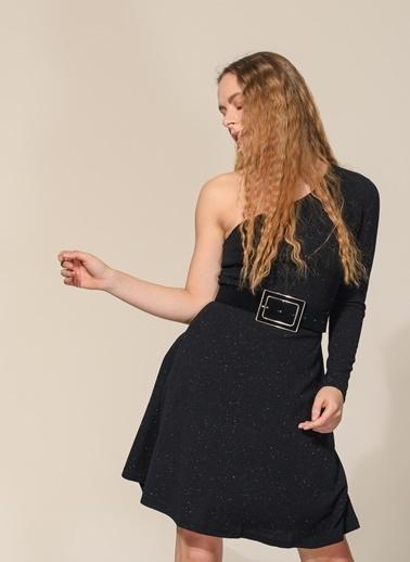 Agenda Metalik Tek Kol Detaylı Elbise Siyah